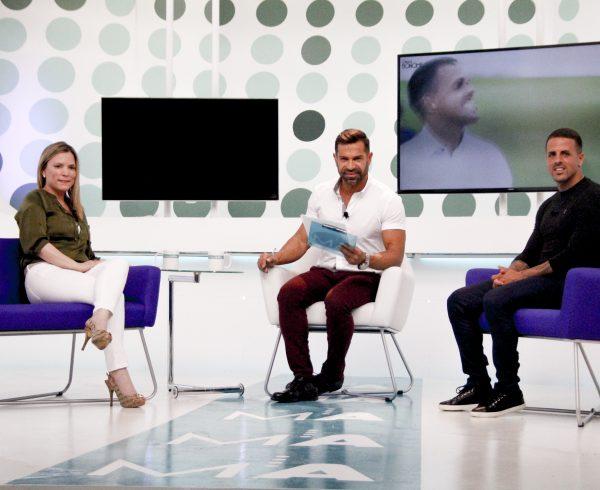 Doctora Bonome con Vitolo del CD Tenerife, en El Programa de Manuel Artiles en Mírame TV