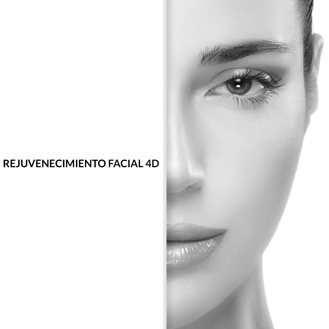 Beauty and skincare concept with a half face portrait of a gorgeous woman with healthy clean skin and blank copyspace alongside with sample text. Template design