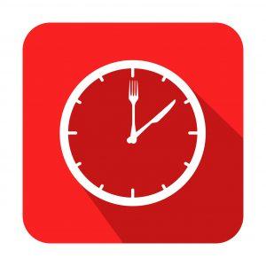 Icono cuadrado horario de comer con sombra rojo